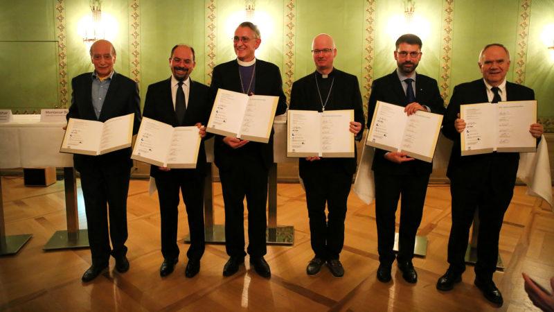 Les représentants des religions ont signé l'appel pour les réfugiés le 7 novembre 2018 à Berne. | © B. Hallet