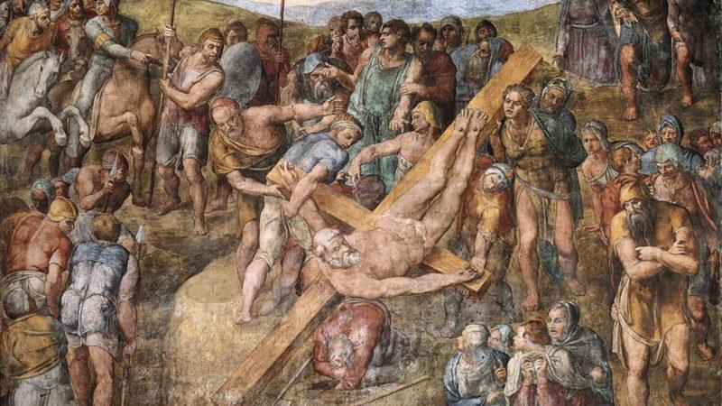 Sur le mur de droite de la chapelle: le martyr de saint Pierre (détail), peint par Michel Ange, de 1542 à 1545. | Wikimedia - Domaine public