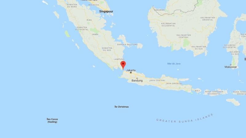 Le détroit de la Sonde sépare les îles indonésiennes de Java et Sumatra | © Google Maps