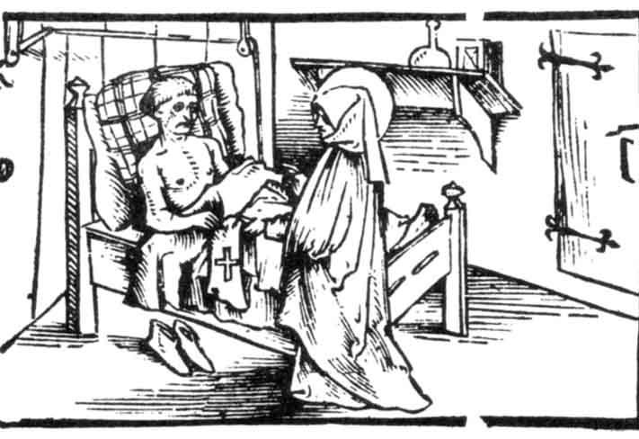 Le faussaire fait don au novice des langes du Christ pour soulager ses blessures