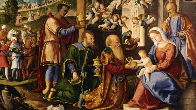 L'adoration des trois mages, détail. Girolamo de Santacroce. Vers 1530. | Domaine public.