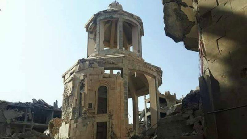 L'église et le mémorial des martyrs arméniens dans la ville syrienne de Deir ez-Zor, dynamités par les terroristes de Daech | © al Masdar