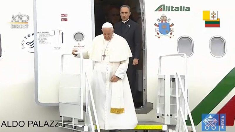 Le pape, ici à Vilnius, rencontrera des jeunes atteints du sida.   Vatican Media