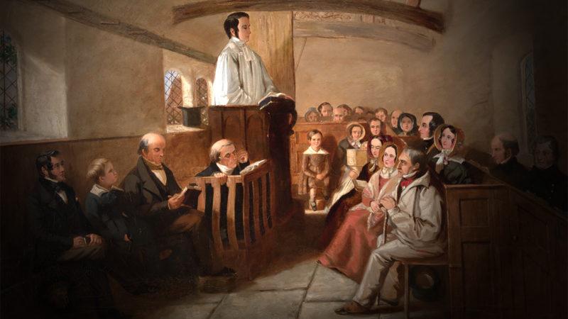 Le diable est-il prêt à tout pour faire capoter une homélie ?   Illustration de Richard Henry Clements Ubsdell, XIXe siècle.