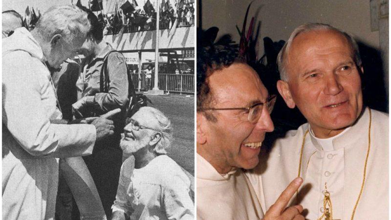 (à g.) Jean Paul II admoneste Ernesto Cardenal   © selucha.tumblr.com/ (à d.) le Père Marie-Dominique Philippe en compagnie de Jean Paul II (Photo:dr)