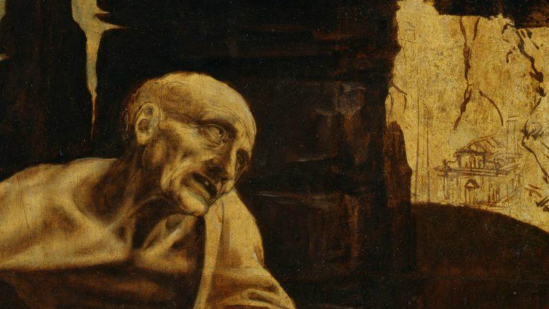 Détail du tableau' Saint Jérôme' par Léonard de Vinci