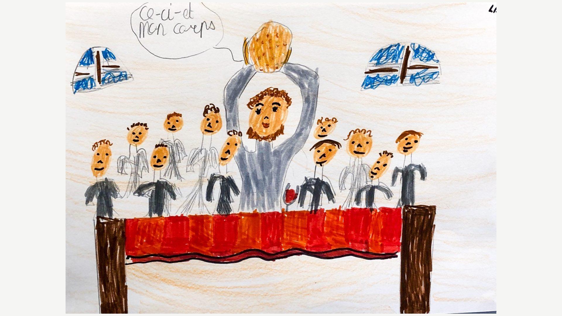 Les enfants de Bulle dessinent la Sainte Cène | © Chantal Reynier