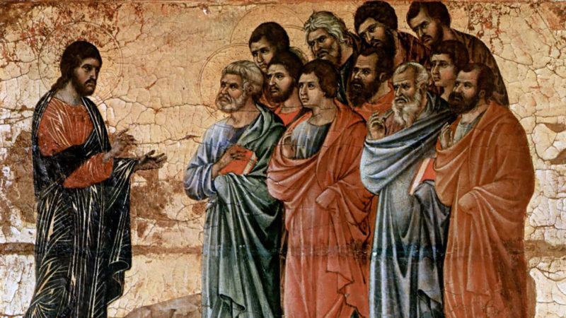 Jésus invite ses disciples à s'approcher et à manger. Duccio di Buoninsegna vers 1308. | Wikimedia Commons