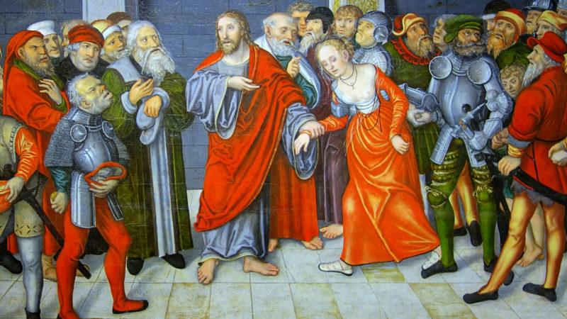 Jésus et la femme adultère. Lucas Cranach le Jeunes. Huile sur toile, 1549.   Wikimedia Commons