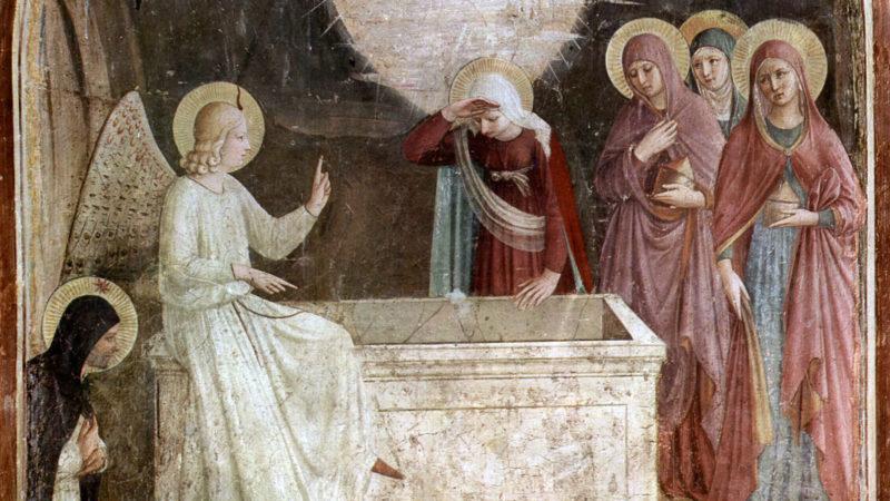 """""""La découverte du tombeau vide"""". Par Fra Angelico, fresque vers 1437-1446, détail. Musée national San Marco, Florence.   Domaine public."""