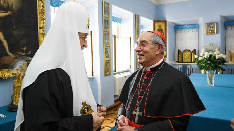 Le patriarche Cyrille de Moscou reçoit une délégation de pèlerins de l'Eglise catholique emmenés par le cardinal Angelo De Donatis | © Patriarcat de Moscou