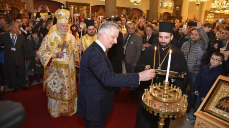 Le roi Philippe de Belgique participant au Dimanche de l'orthodoxie dans la cathédrale des Saints-Archanges à Bruxelles | DR