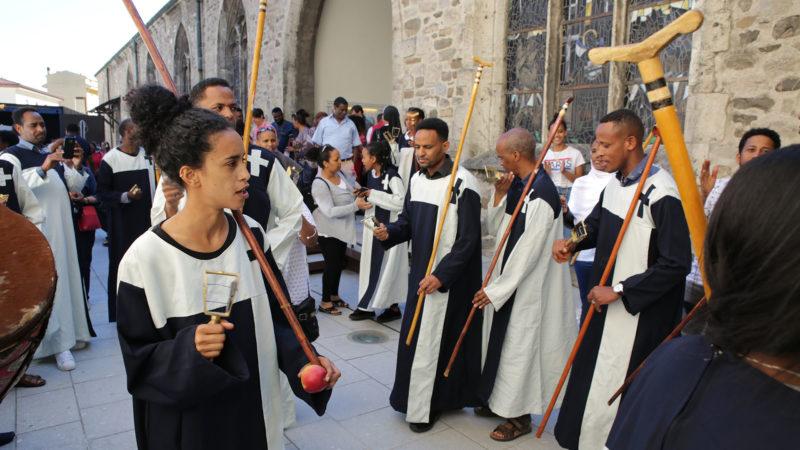 Saint-Maurice le 2 juin 2019. La chorale érythréenne a rythmé le pèlerinage aux saints d'Afrique. | © B. Hallet