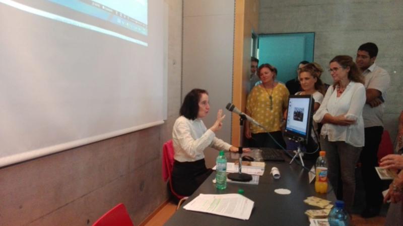 Gianna Emanuela, figlia di Santa Gianna Beretta Molla, questo pomeriggio alla Facoltà di Teologia di Lugano.