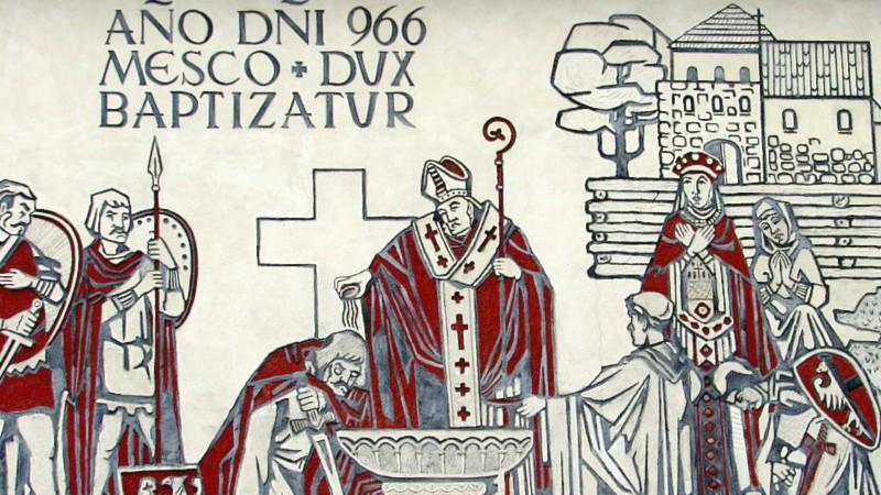 Baptême de la Pologne Mural à Gniezno (Photo:  wikimedia commons)