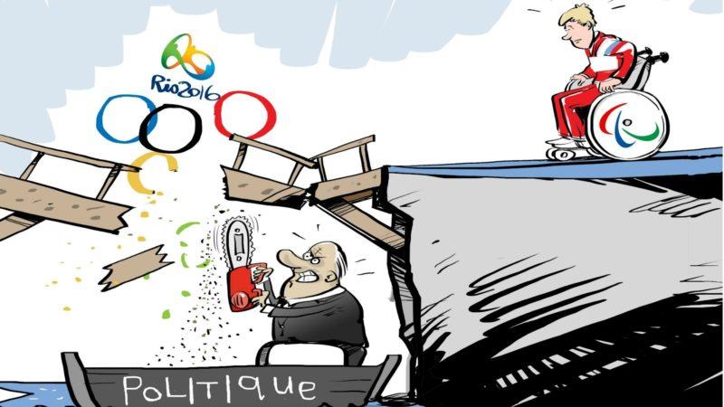 Les athlètes russes privés collectivement des Jeux paralympiques de Rio de Janeiro (Caricature:  fr.sputniknews.com)